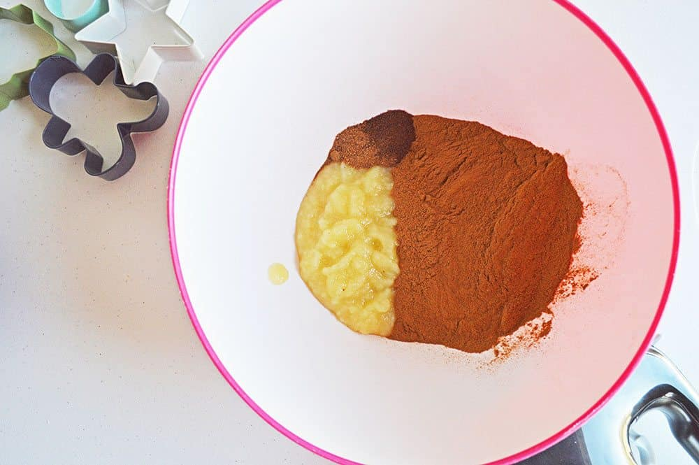 cinnamon, applesauce, nutmeg, cloves in a bowl