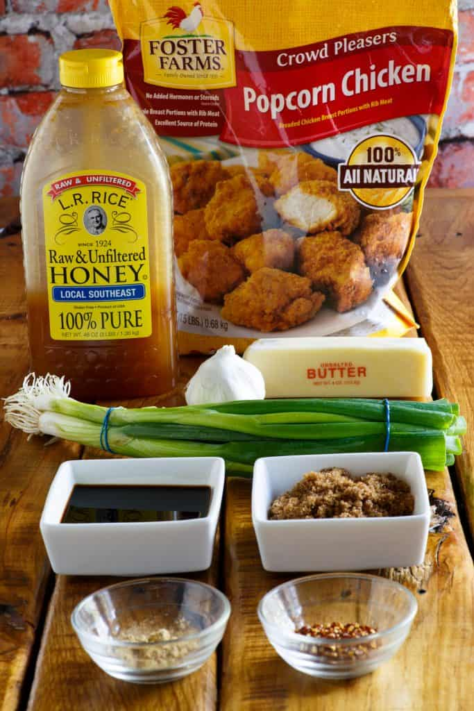 popcorn chicken, honey, butter, soy sauce, green onion
