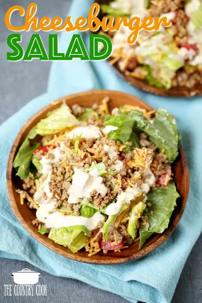 Low Carb Cheeseburger Salad recipe from The Country Cook