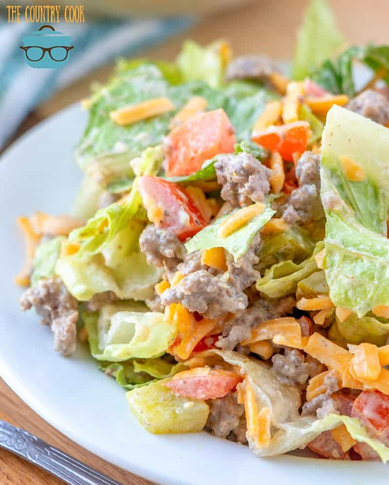 Low Carb Cheeseburger Salad with homemade Thousand Island Dressing