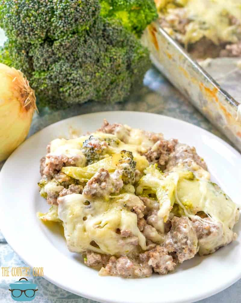 Cheesy Broccoli Hamburger Casserole recipe served on a white plate