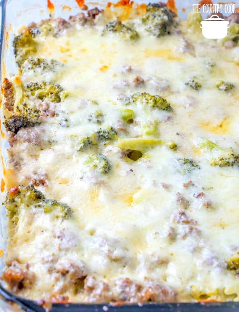 melted mozzarella cheese on low carb hamburger and broccoli casserole