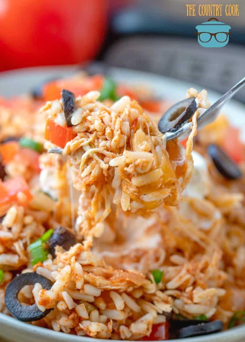 Crock Pot Chicken and Rice Burrito Bowl, forkful.