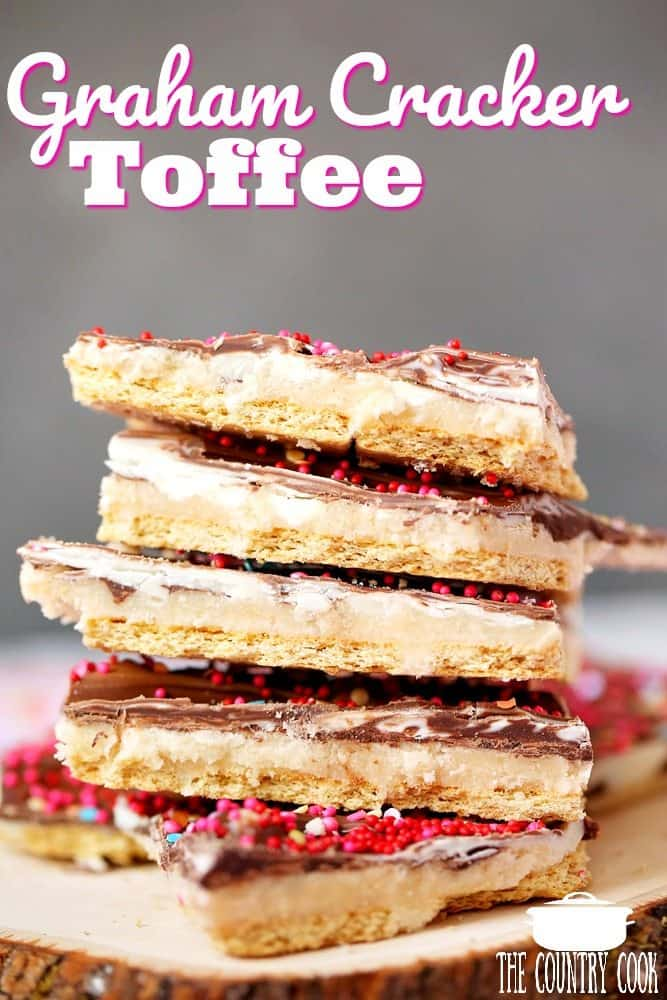 Valentine's Day Graham Cracker Toffee recipe from The Country Cook