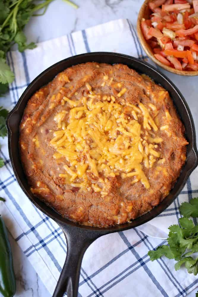 Refried Bean Dip with Melted Cheese