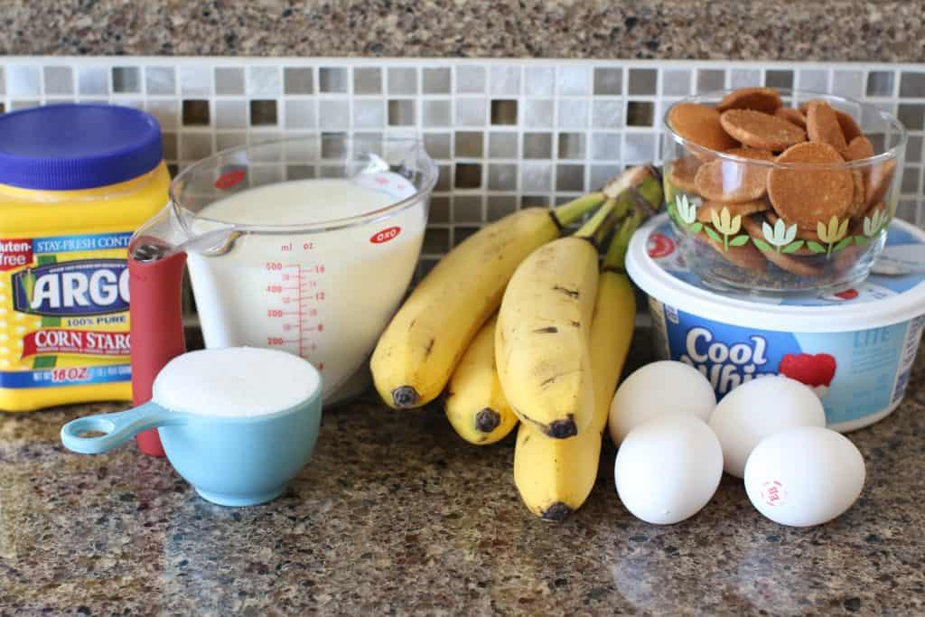 bananas, milk, cool whip, bananas, vanilla wafers, sugar, eggs