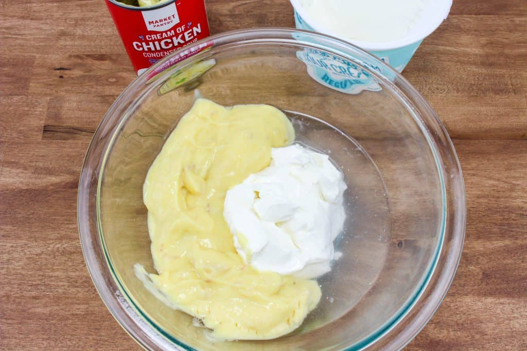 cream of chicken, sour cream and water