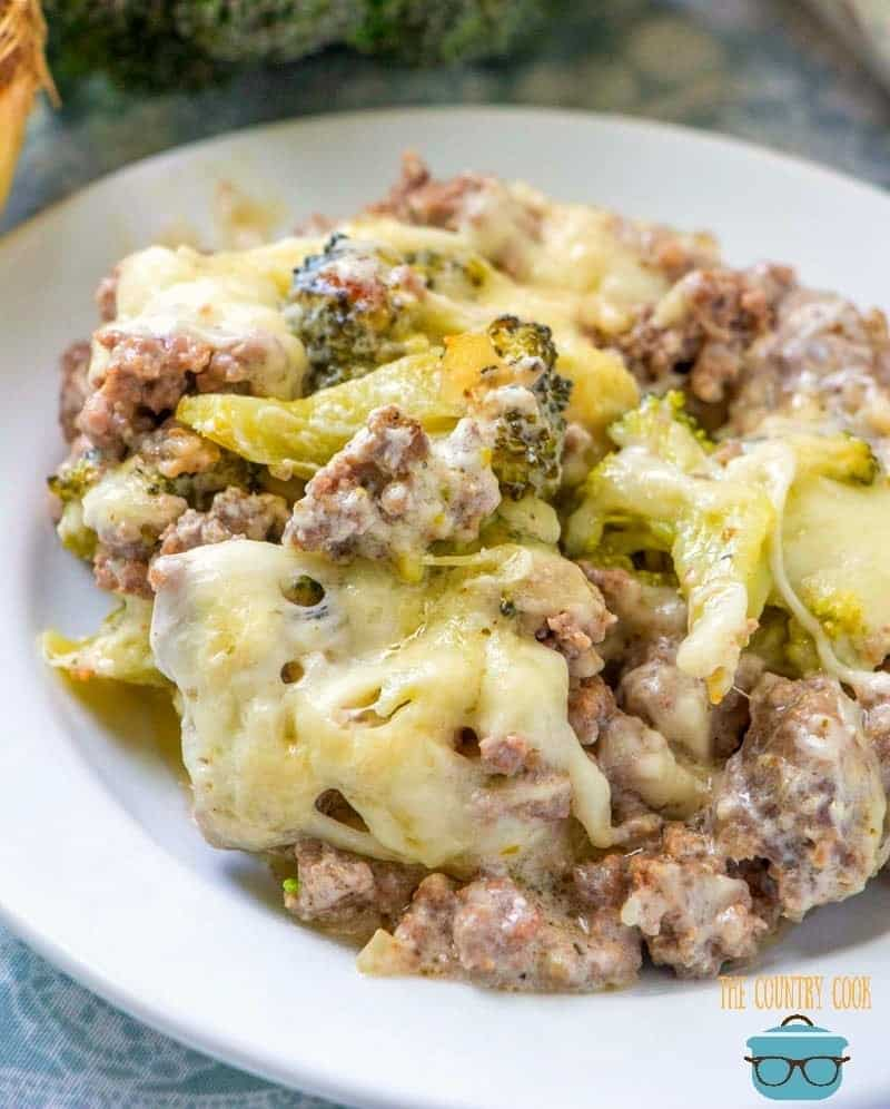 Low Carb Cheesy Hamburger Casserole with Broccoli recipe