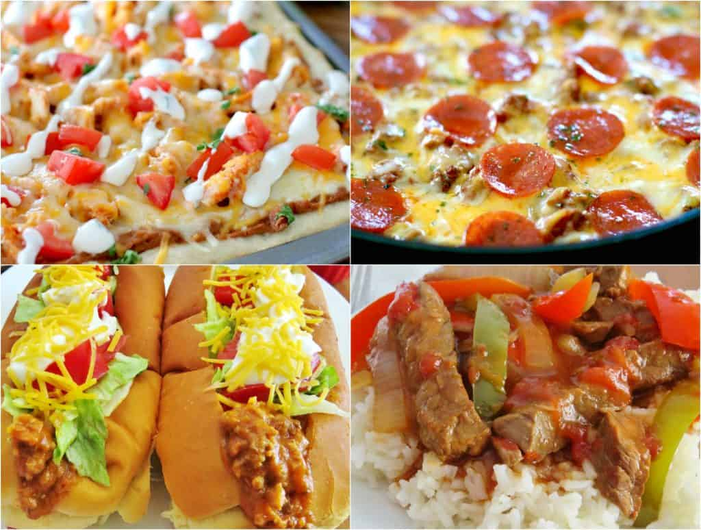 Meal Plan Sunday featured recipes include: Cornbread Pizza, Chicken Taco Pizza, Crock Pot Taco Joes, Crock Pot Pepper Steak, Cornbread Chicken Casserole and Crock Pot Chicken and Stuffing