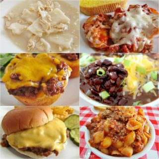 Meal Plan Sunday recipes include: American Goulash, Sloppy Joes, Chicken and Dumplings, Stuffed Shells, Caesar Salad and Black Bean Chili.