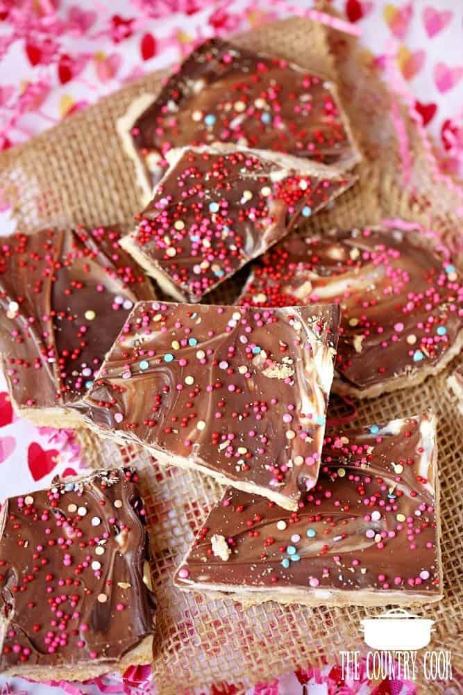 Marbled Valentine's Day No Bake Toffee