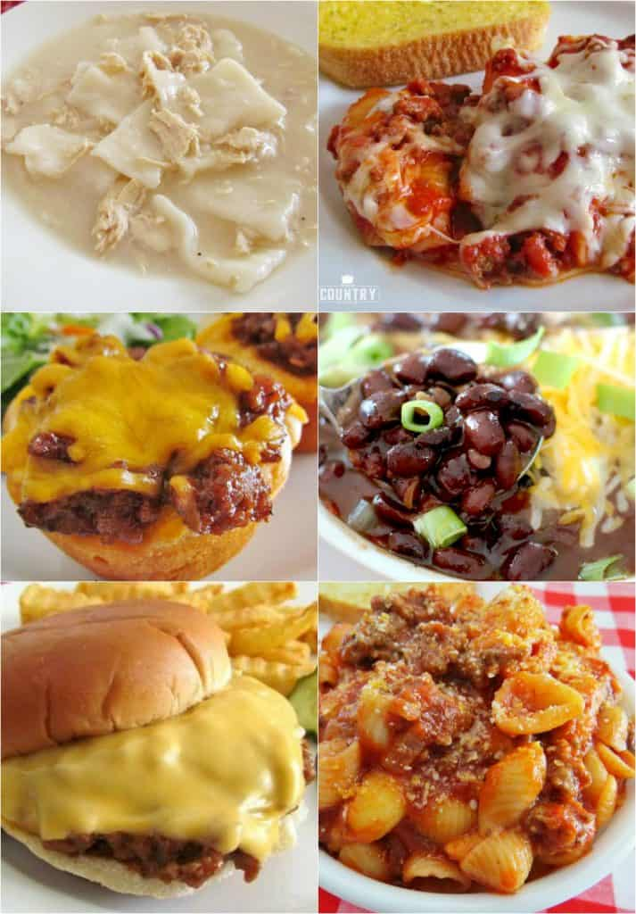 Meal Plan Sunday recipes include: Granny's Goulash (American Style), Sloppy Joes, Chicken and Dumplings, Stuffed Shells, Caesar Salad and Black Bean Chili. #dinner #recipes #ideas #mealplan #groundbeef