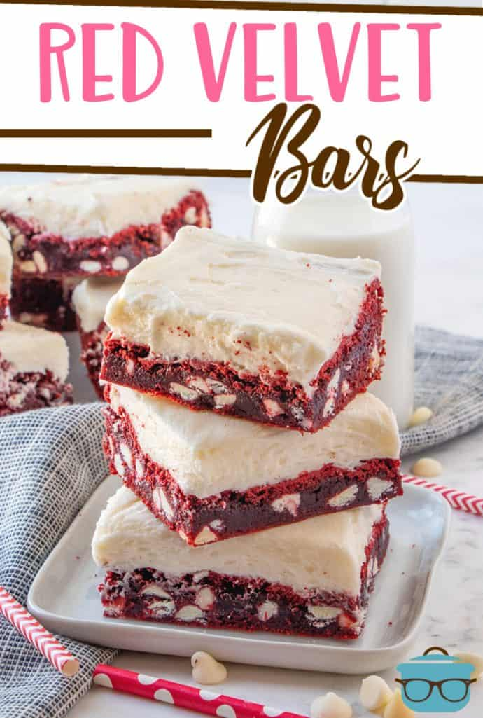 Red Velvet Cake Bars recipe from The Country Cook, red velvet bars stacked on a white plate
