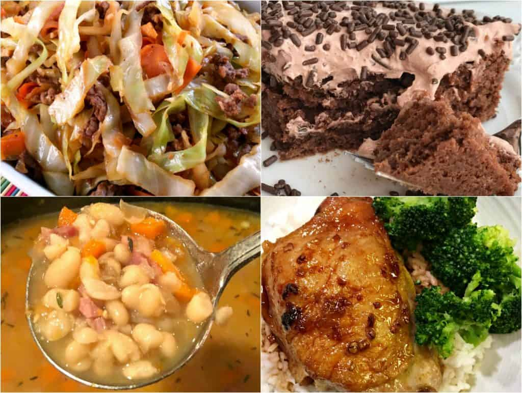egg roll stir fry, skinny chocolate cake, Slow Cooker Bean and Ham Soup, Soy Glazed Pork Chops featured recipes at Weekend Potluck
