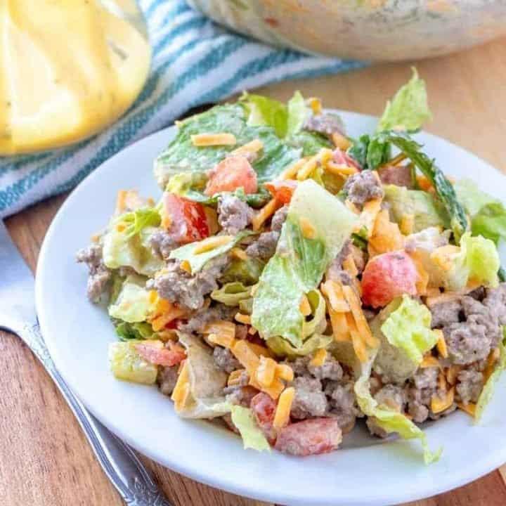 Low Carb Cheeseburger Salad, thumbnail