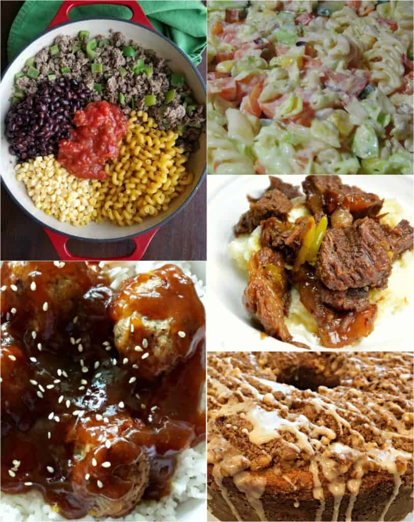Featured recipes from Weekend Potluck include: Amish Pasta Salad, Teriyaki Meatball Bowls, One Pot Taco Pasta, Instant Pot Butter Beef and Sour Cream Coffee Cake.