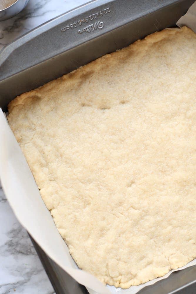 baked pecan pie bar dough