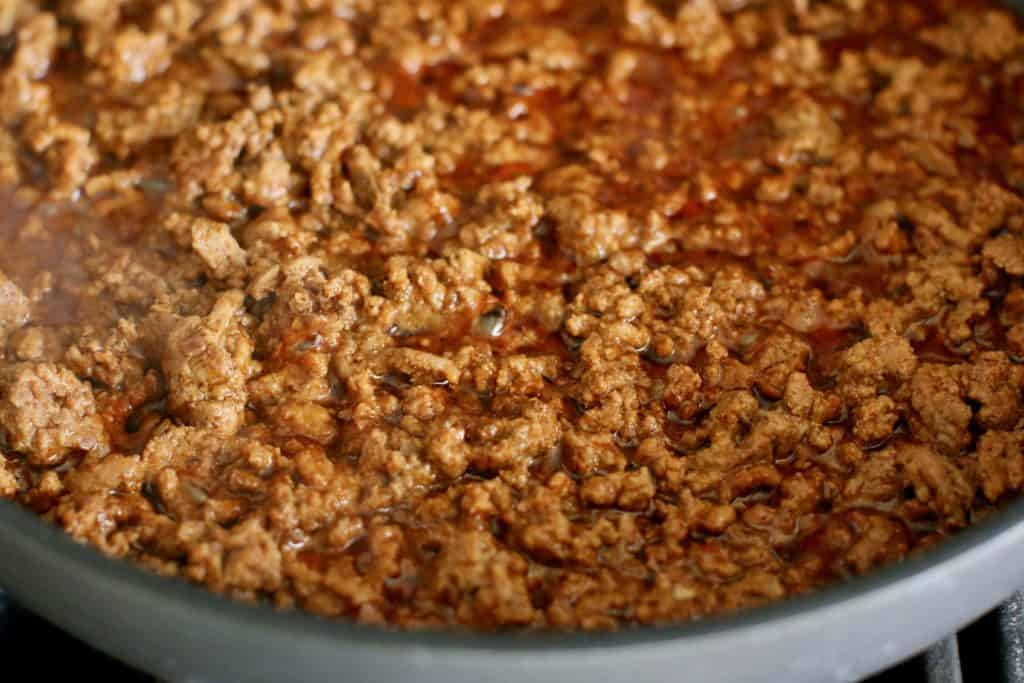 taco ground beef in skillet