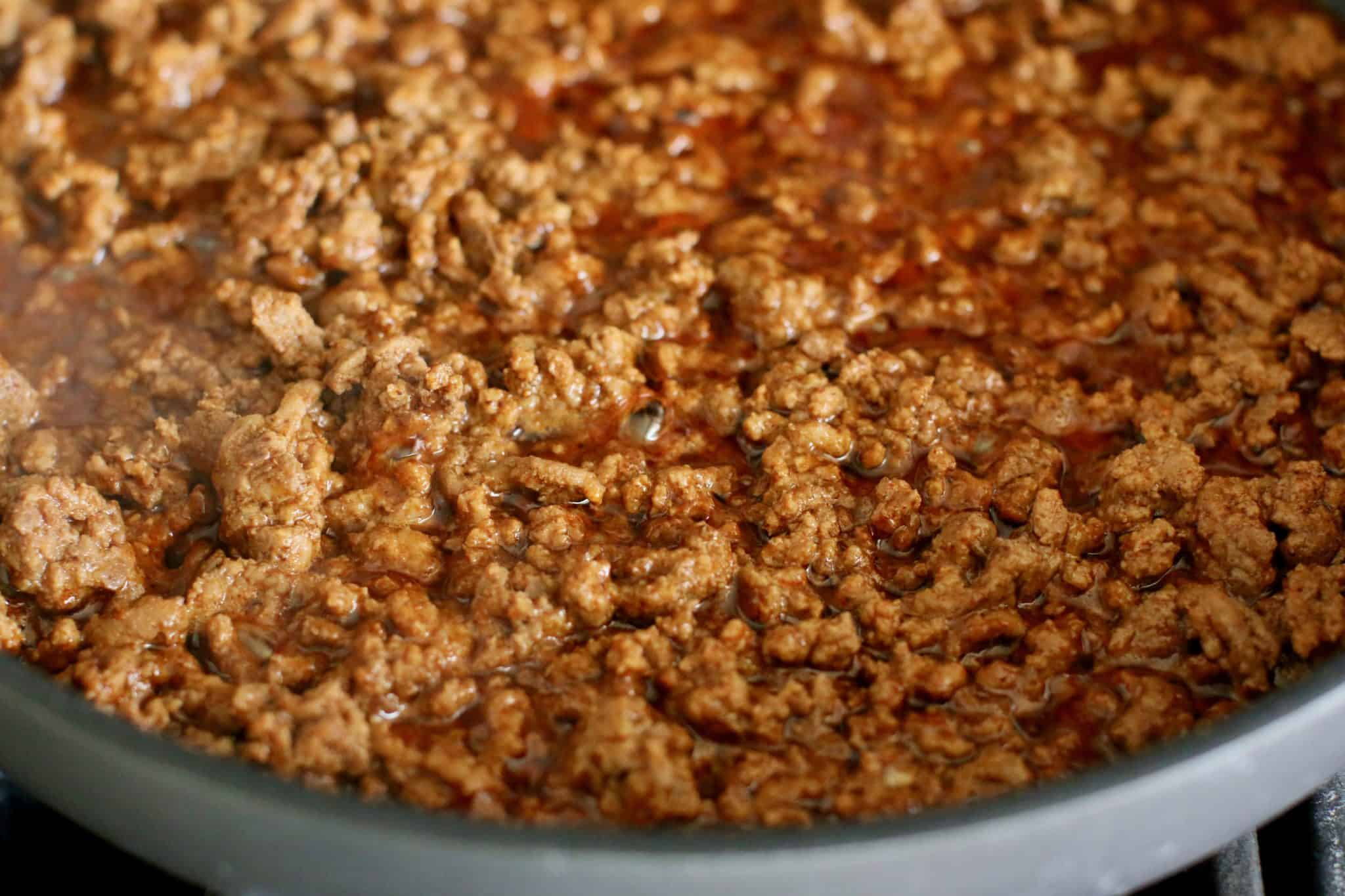taco ground beef in skillet.