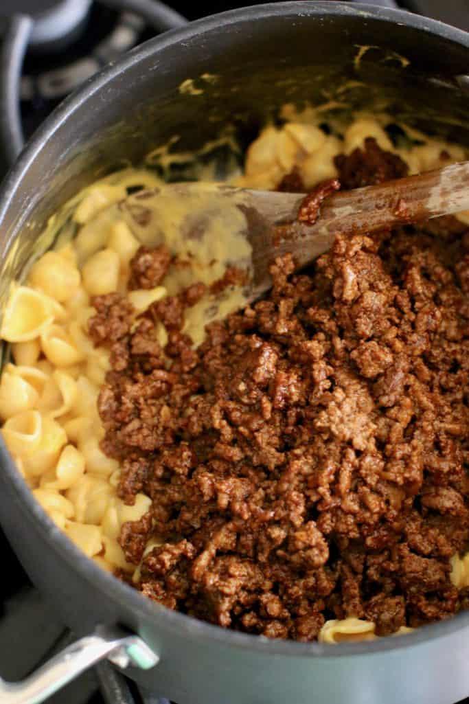 macaroni and cheese and taco ground beef