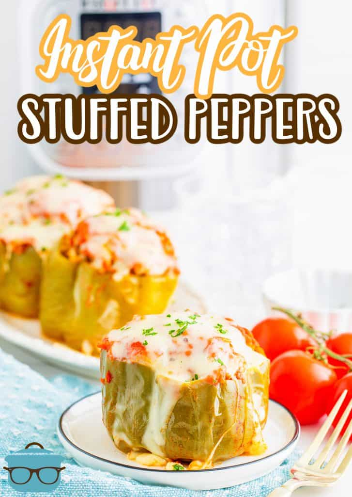 Instant Pot Stuffed Peppers recipe from The Country Cook, stuffed peppers shown on plates in from of a white Instant Pot