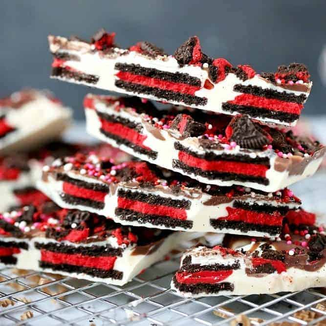 Valentine's Day No Bake Oreo Bark