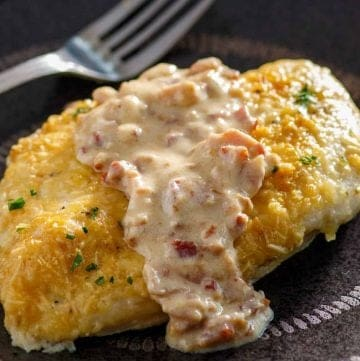 Low Carb Parmesan Crusted Chicken with Creamy Bacon Sauce