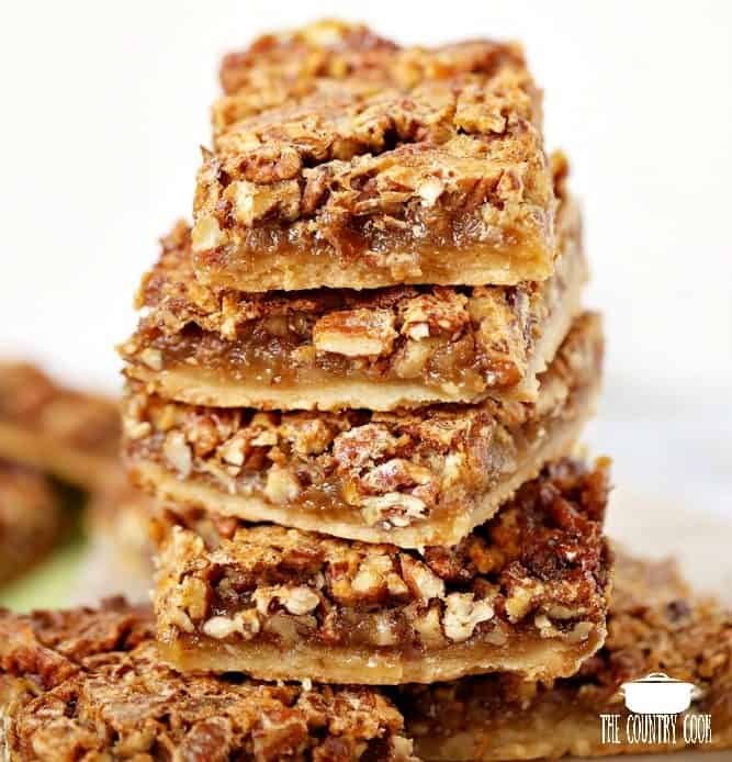 Pecan Pie Bars, stacked