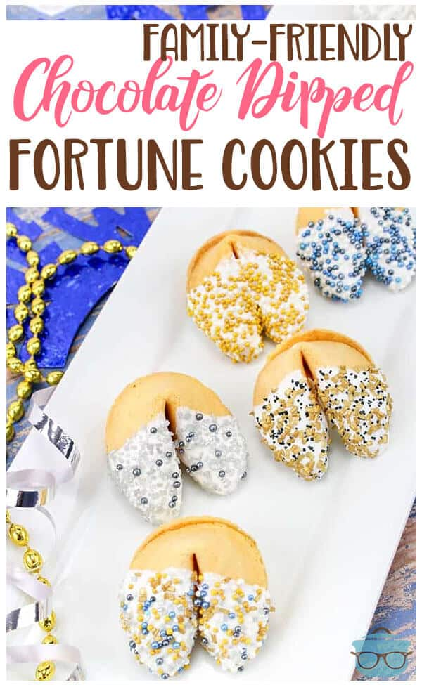 White Chocolate Dipped Fortune Cookies recipe from The Country Cook #kidfriendly #party