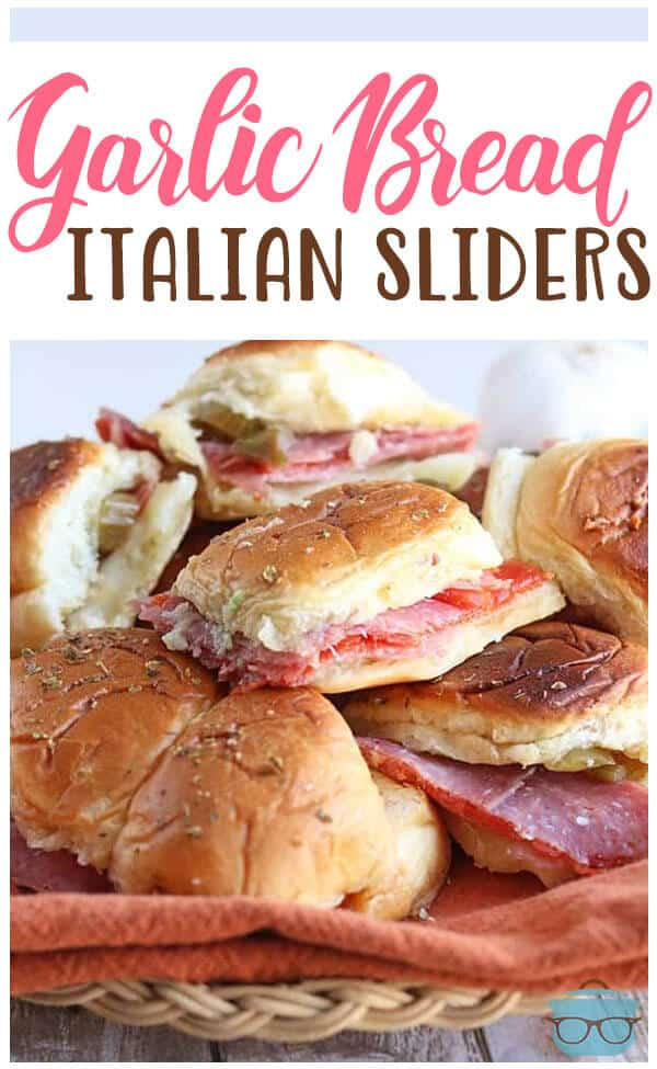 Garlic Bread Italian Sliders recipe from The Country Cook #appetizer #snack