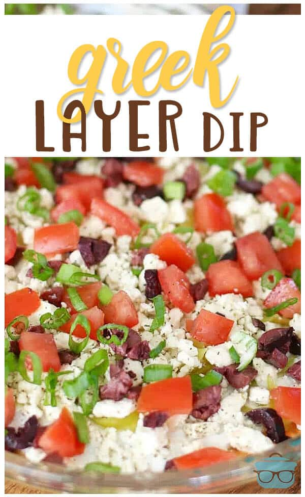 Greek Layer Dip recipe. Easy, tzatziki, Feta cheese and Kalamata olives from The Country Cook. Ridiculously good! Like a seven layer dip but with Greek inspiration! #dip #appetizer