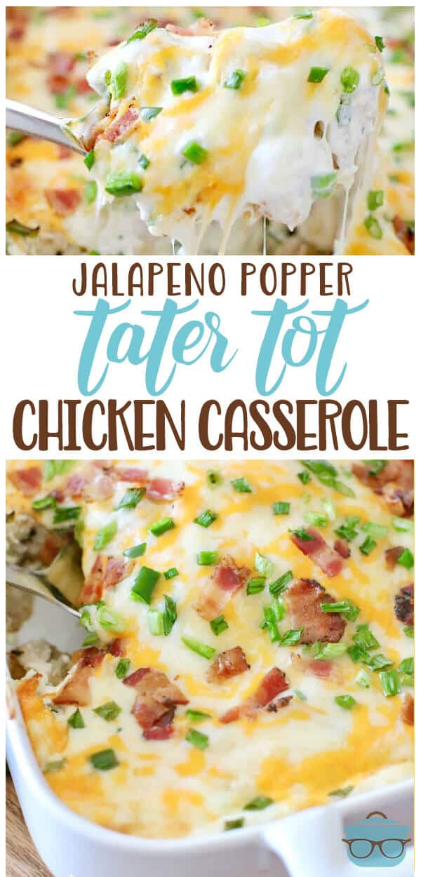 This casserole is a whole meal in one. You have a layer of tater tots on the bottom followed by a layer of rotisserie chicken that is topped with the most yummy cream cheese mixture and all of that is finished off with melted cheese, bacon and green onions. #JalepenoPopperTaterTotChickenCasserole #maindish