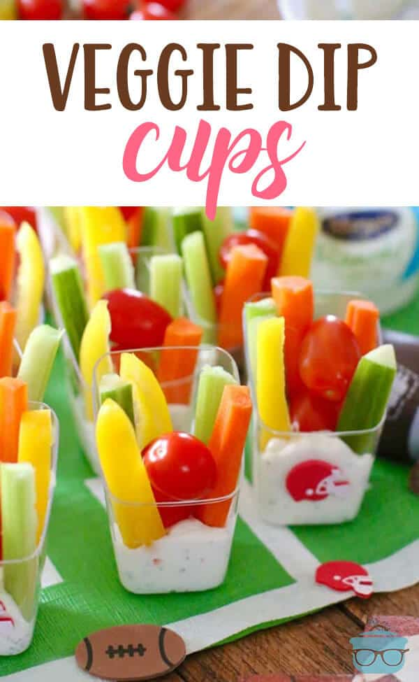 Veggie Dip Cups are a clever (and tasty!) way to eat more veggies! The dip is thick and creamy and will make you feel good about eating fresh vegetables. It's the little things that make ALL the difference! #VeggieDipCups #partyfood