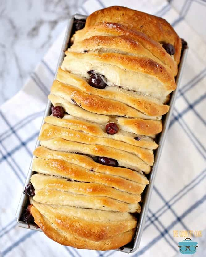 Blueberry Pull Apart Bread, fully baked, golden brown topped with sugar