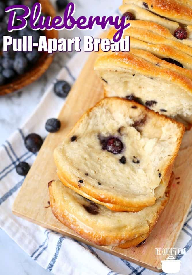 Blueberry Pull Apart Bread, recipe from The Country Cook