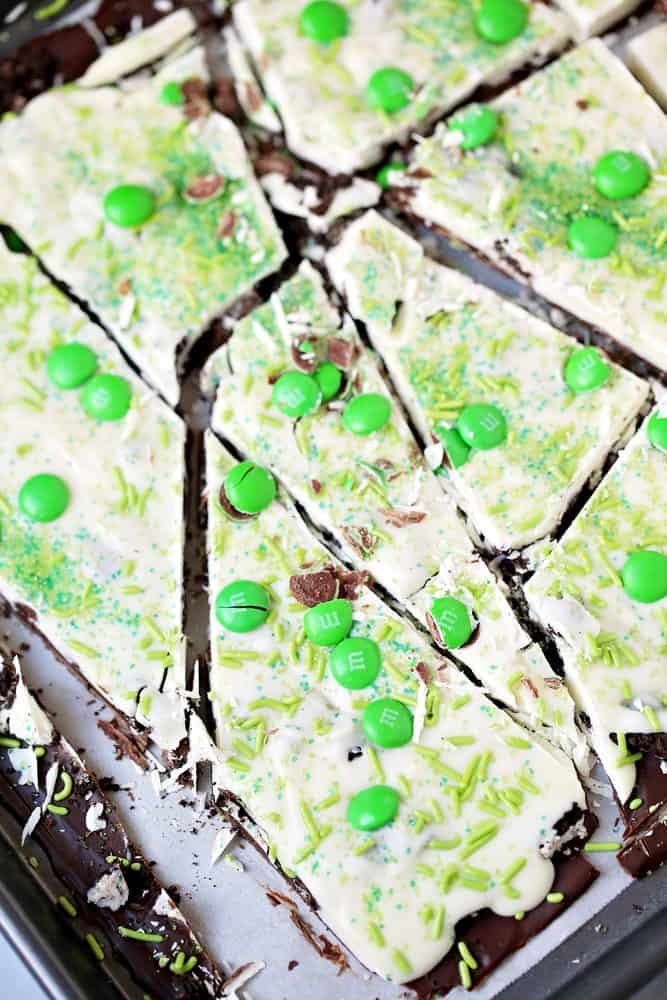 broken pieces of no-bake St. Patrick's Day Oreo bark