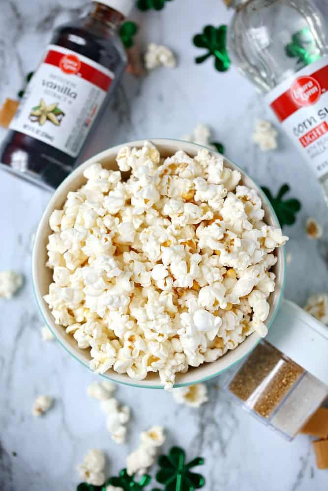 popcorn, butter, vanilla, brown sugar, corn syrup