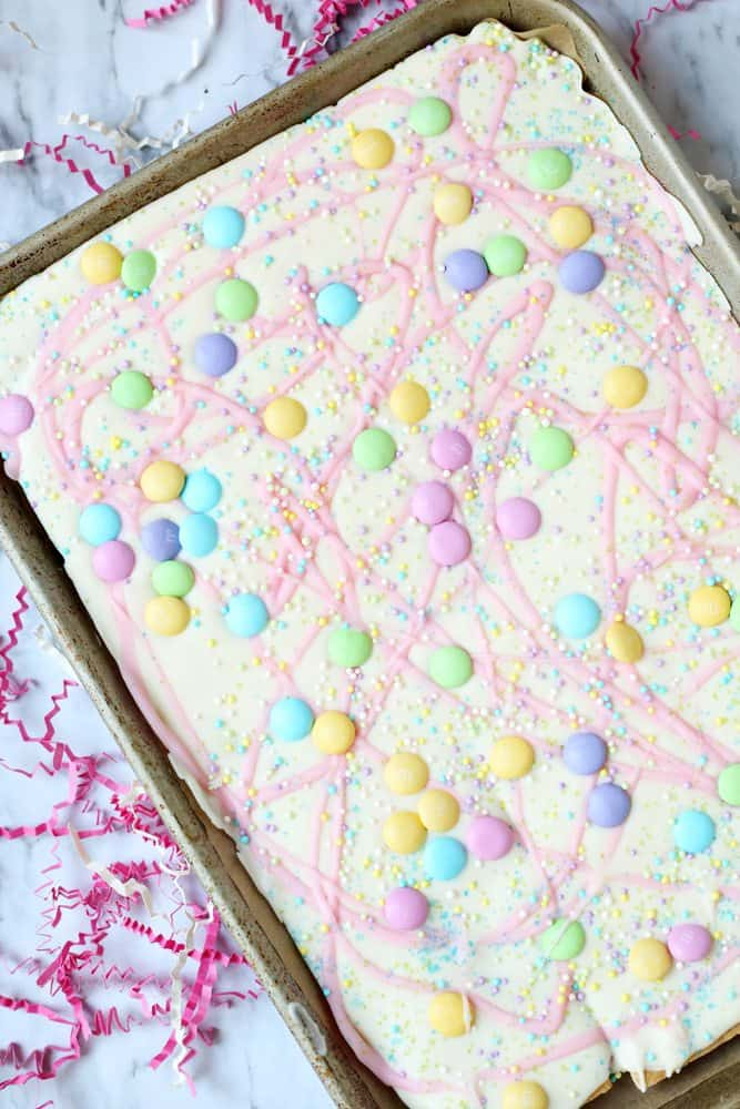 graham crackers, white chocolate, pastel sprinkles and M&M's