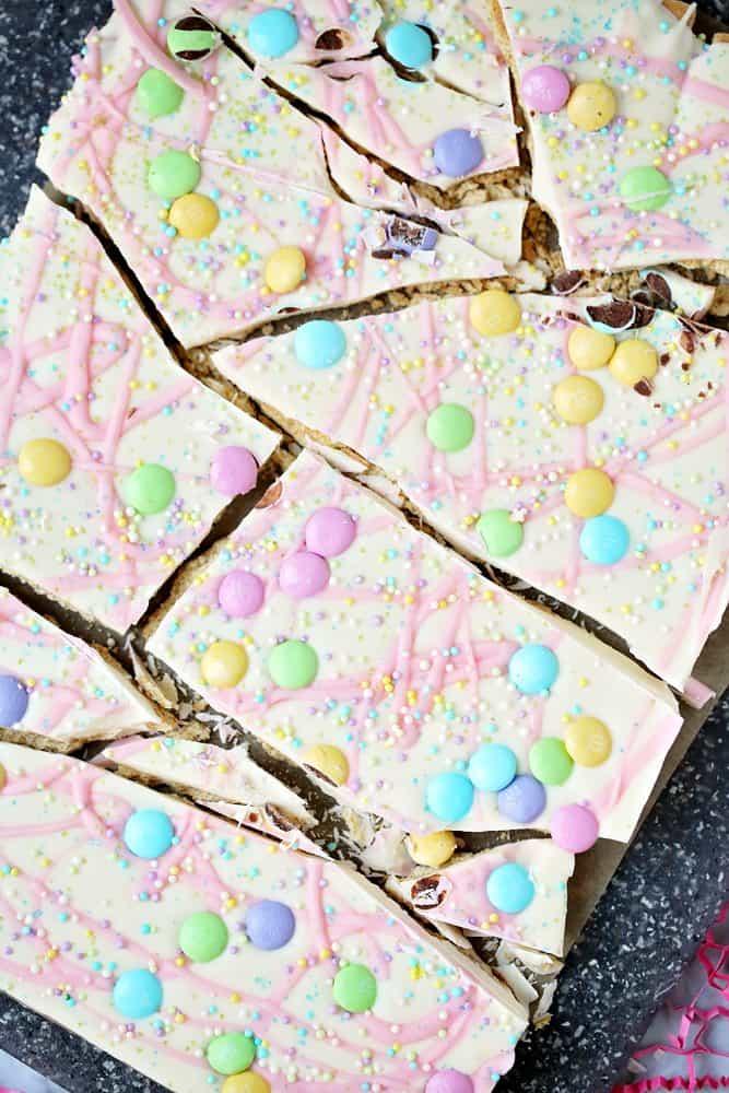 broken apart pieces no-bake spring candy bark