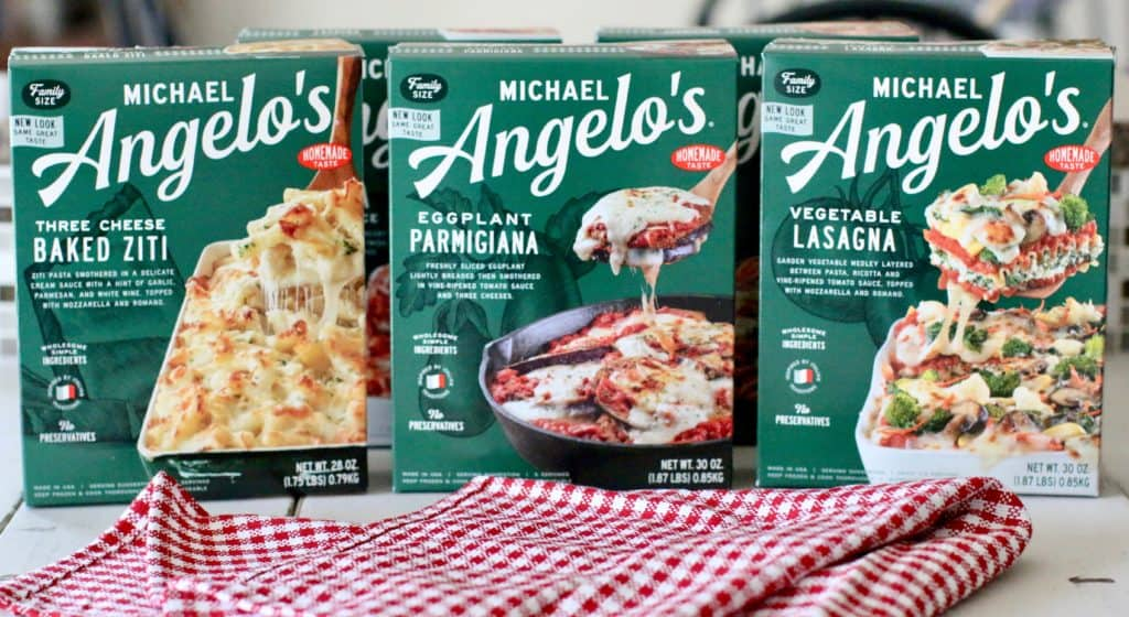 Michael Angelo's Frozen Meals: Vegetarian - Vegetable Lasagna, Eggplant Parmigiana, Three Cheese Baked Ziti