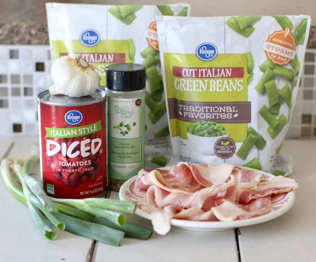 frozen cut Italian green beans, Italian diced tomatoes, green onion, garlic, Italian seasoning