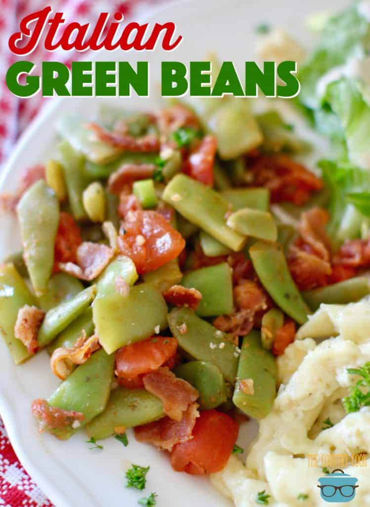 Italian Green Beans with bacon recipe from The Country Cook