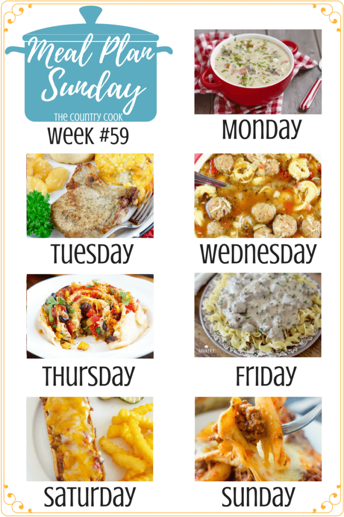 Meal Plan recipes include: Cheeseburger Soup, Pork Chop Casserole, Easy Baked Ziti, Meatloaf Melts, Meatball Tortellini Soup, Ground Beef Stroganoff and Chicken Pizza Rolls #mealplan #recipes #dinner #ideas #easy #dinnerrecipes