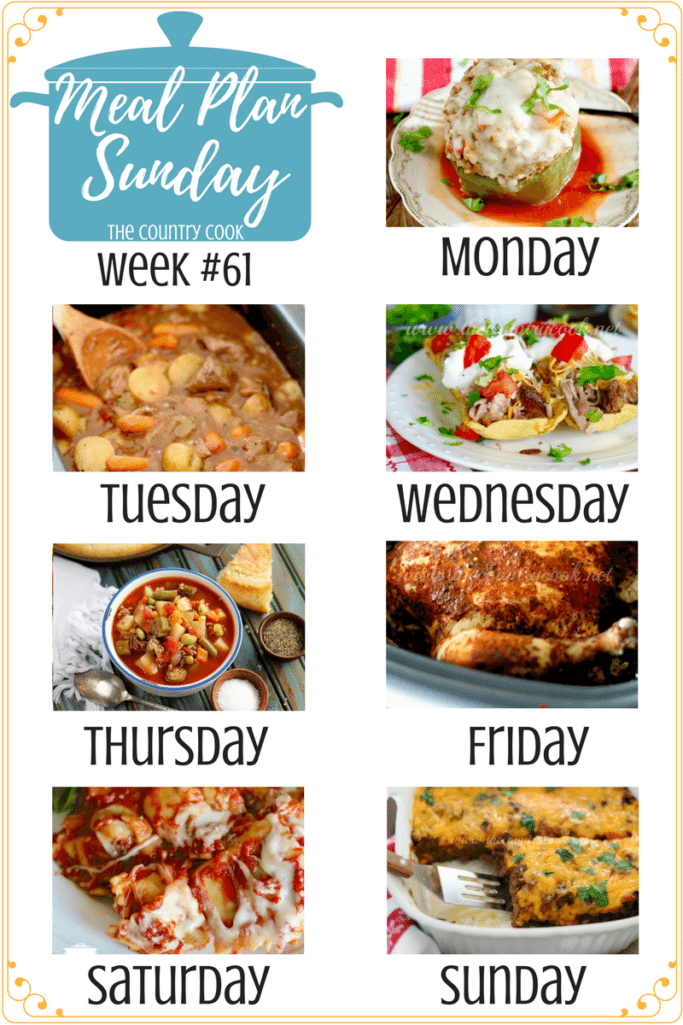 Meal Plan dinner recipes include: Instant Pot Italian Stuffed Peppers, Crock Pot Chunky Beef & Potato Stew, Crock Pot Pork Carnitas, Quick and Easy Vegetable Beef Soup, Crock Pot Whole BBQ Chicken, Crock Pot Ravioli and Bisquick Easy Burrito Bake