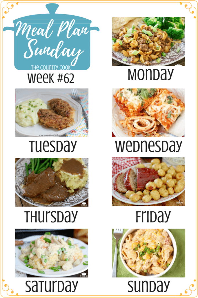 Meal Plan Recipes include: Easy Taco Mac and Cheese, Oh So Good Crispy Chicken, Easy Lasagna Rolls, Instant Pot Cubed Steak and Gravy, The Best Instant Pot Meatloaf and Little Potatoes, Crock Pot Chicken Pot Pie, Crock Pot Taco Pasta