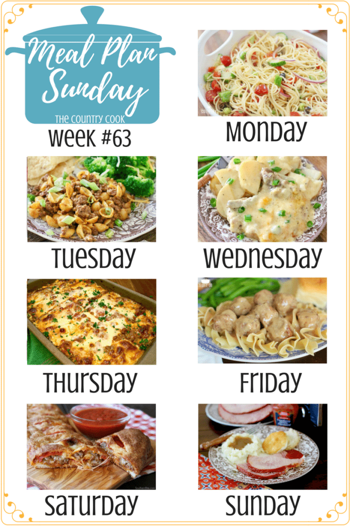 Meal Plan recipes include: Spaghetti Pasta Salad, Easy Taco Mac and Cheese, Crock Pot Smothered Pork Chops and Potatoes, South Your Mouth Lasagna, Crock Pot Swedish Meatballs, Easy Stromboli Crock Pot Holiday Ham, Enchilada Rice, Copycat Chick-fil-A Superfood Salad #mealplan #recipes #easy #dinner #ideas #groundbeef #chicken #porkchops #pasta