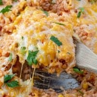 One Pot Enchilada Rice with melted cheese