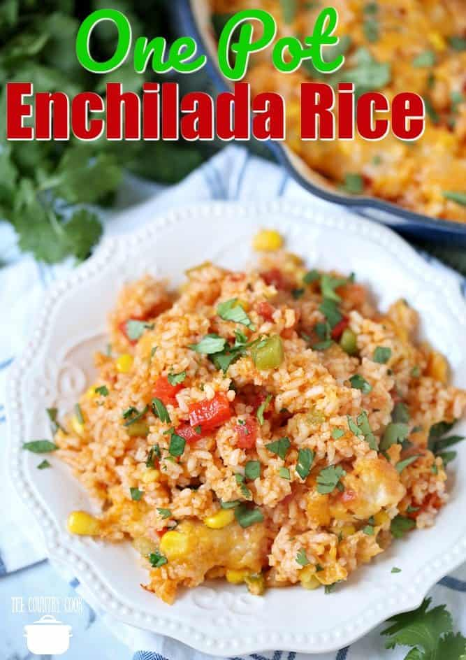 One Pot Enchilada Rice recipe from The Country Cook #rice #sidedishes #recipes #ideas #dinner #easy