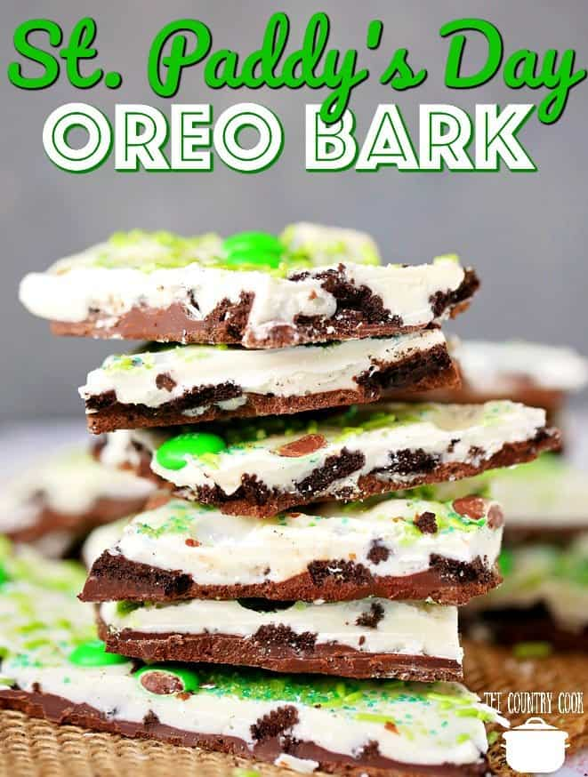 St. Paddy's Day No-Bake Oreo Bark recipe from The Country Cook