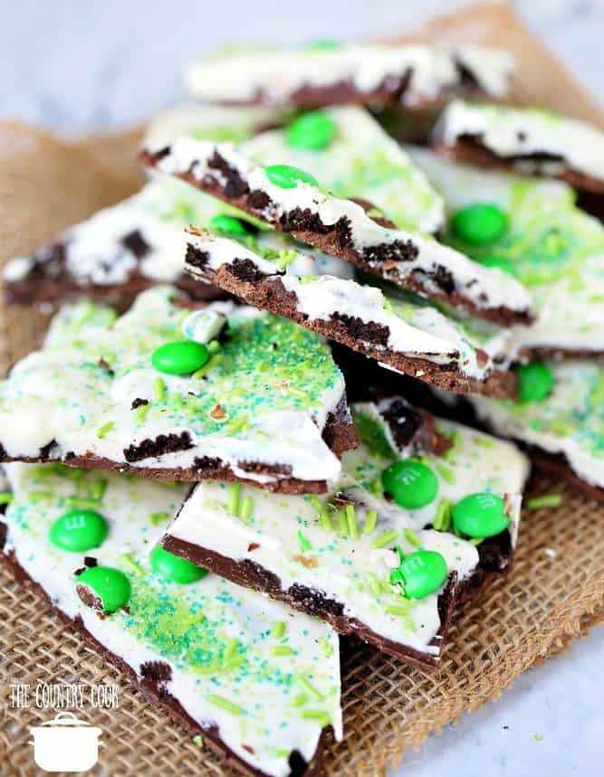 Oreo Bark with sprinkles and M&M's broken apart and stacked